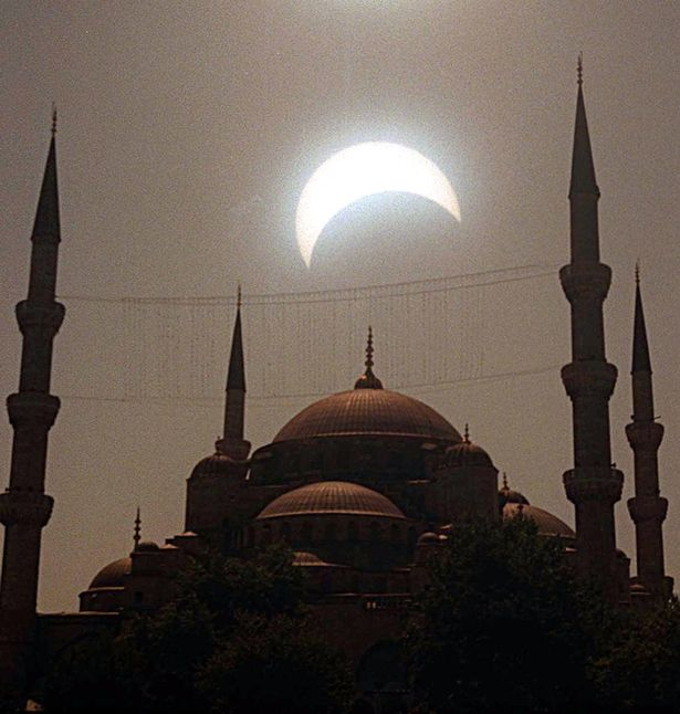 A solar eclipse over the Blue Mosque in Istanbul on August 11, 1999